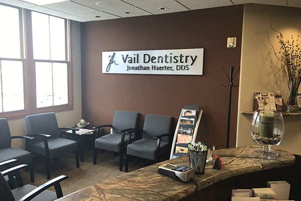 The waiting room of Vail Dentistry where you'll be pampered from start to finish.