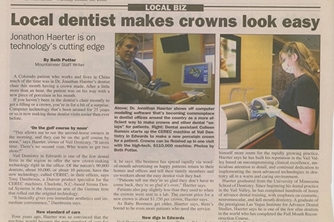 Dr. Haerter is featured in the local paper about CEREC Same-Day Crowns.